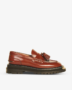 Iron platform leather loafers
