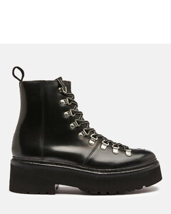Women's Nanette Chunky Leather Hiking Style Boots - Black