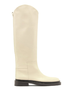 Curved-edge leather knee-high boots