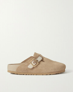 Boston Canvas And Leather-trimmed Suede Slippers