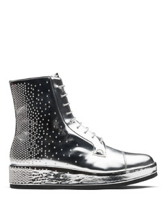 Mirror Calf Leather Lace-up Boot Stud