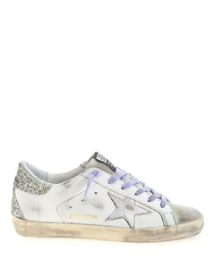 Super Star sneakers in white, silver and lila