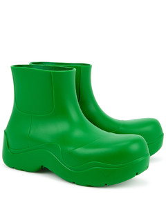 Puddle green rubber ankle boots