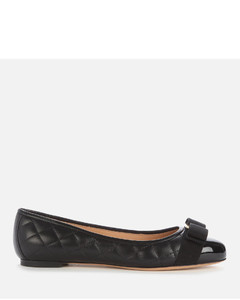 Women's Varina Quilted Leather Ballet Flats - Black