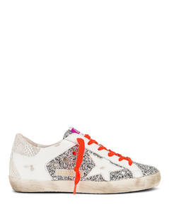 Super Star Sneaker in Metallic Silver,White