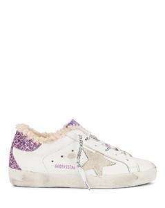 Super Star Sneaker in White,Lavender