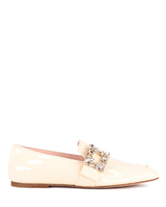 Cream patent leather loafers