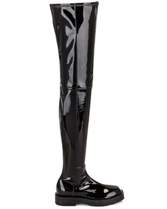 Squared Over The Knee Boots in Black