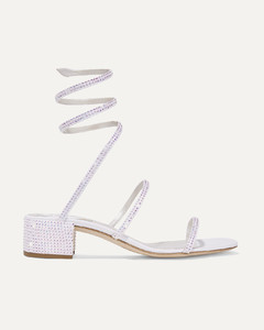 Cleo Crystal-embellished Satin And Leather Sandals