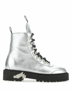 Silver leather ankle boots Silver Off White Donna