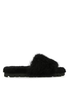 Black shearling slippers Nd Miu Miu Donna
