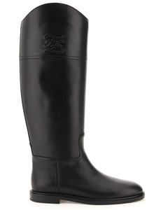 KARLIGRAPHY LEATHER BOOTS