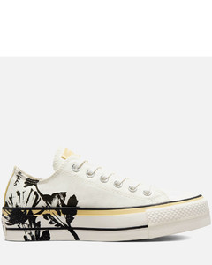 Women's Chuck Taylor All Star Hybrid Floral Lift Ox Trainers - Egret/Saturn Gold/Black