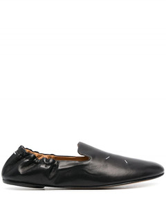 Black leather kiki slip-on ballerina shoes from maison margiela