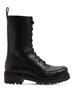 25mm Embellished Leather Combat Boots