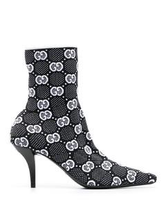 弹力皮革厚底靴子