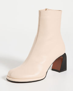 Black leather knee-length lace-up boots
