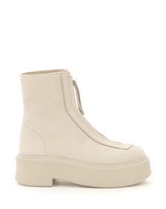 ZIPPED NUBUCK ANKLE BOOTS