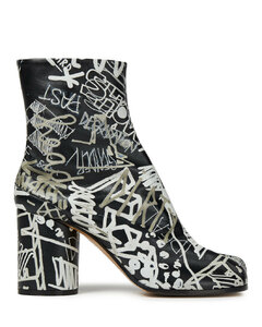 Woman Printed Leather Split-toe Ankle Boots