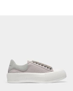 Deck Sneakers in Grey Canvas