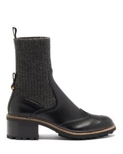 Franne sock and leather brogue boots