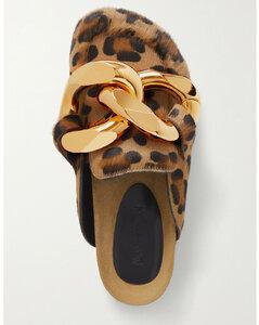 Chain-embellished Leopard-print Calf Hair Slippers