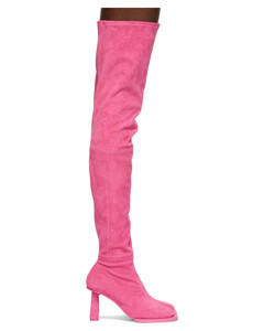 粉色Les Bottes CarréRond高筒靴