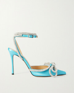 Double Bow Crystal-embellished Silk-satin Point-toe Pumps