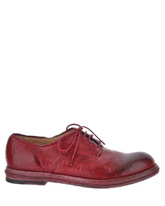 Casual business uma wang shoes in red calf leather with low heel. is features by round toe, front lace-up.