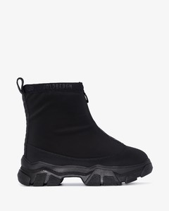 Black polysynthetic leather and fabric Bump'air sneakers