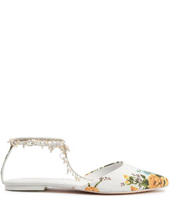 Woman Embellished Floral-print Canvas Point-toe Flats