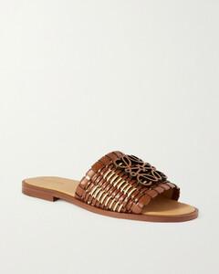 Anagram Woven Leather Slides