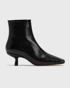 Lange Black Snake Print Leather Boots