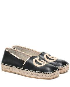 GG皮革草编鞋