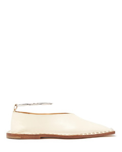 Studded square-toe leather ballet flats