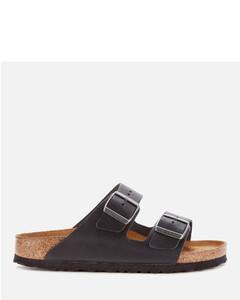 Women's Arizona Oiled Leather Double Strap Sandals - Black