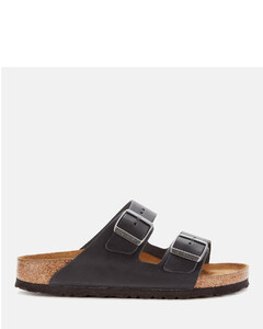 Women's Arizona Slim Fit Oiled Leather Double Strap Sandals - Black