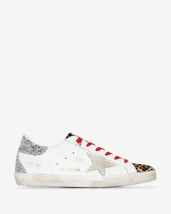 White Superstar leopard print panel sneakers