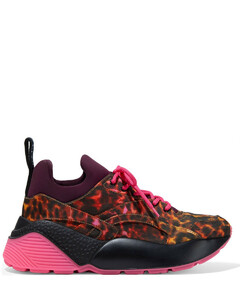 Woman Eclypse Leopard-print Twill And Neoprene Exaggerated-sole Sneakers