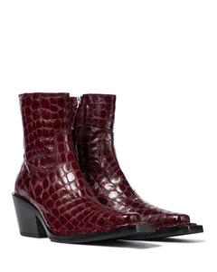 鳄鱼纹皮革及踝靴