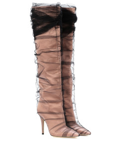 X Off-White Elisabeth 100 tulle and satin boots