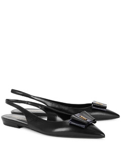 Anais black leather slingback flats