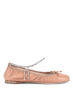 Leather Ballerina Flats in Nude