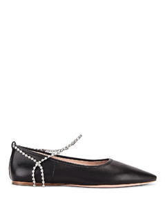 Leather Ankle Jewel Flats in Black
