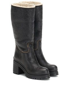 Shearling-trimmed leather boots
