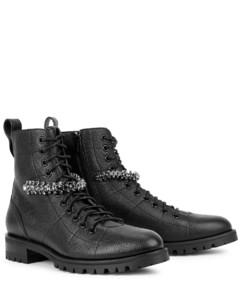 Cruz 40 black leather biker boots