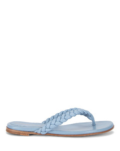 Tropea Leather Flat Sandals in Blue