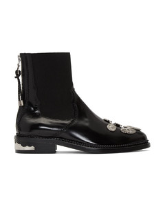 黑色五金低跟踝靴