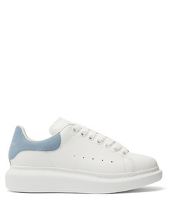 Overized raised-sole leather trainers