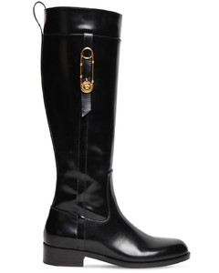 30mm Brushed Leather Tall Boots